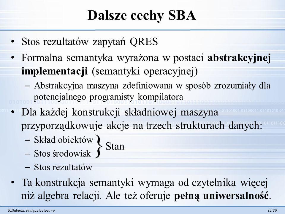 K.Subieta: Podejście stosowe 12/30 Dalsze cechy SBA Stos rezultatów zapytań QRES Formalna semantyka wyrażona w postaci abstrakcyjnej implementacji (se