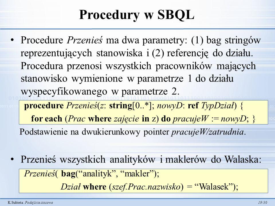 K.Subieta: Podejście stosowe 19/30 Procedury w SBQL Procedure Przenieś ma dwa parametry: (1) bag stringów reprezentujących stanowiska i (2) referencję do działu.