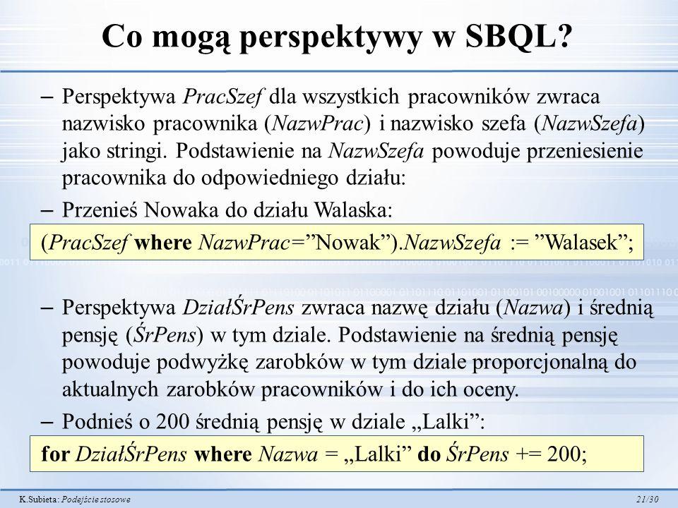 K.Subieta: Podejście stosowe 21/30 Co mogą perspektywy w SBQL? – Perspektywa PracSzef dla wszystkich pracowników zwraca nazwisko pracownika (NazwPrac)