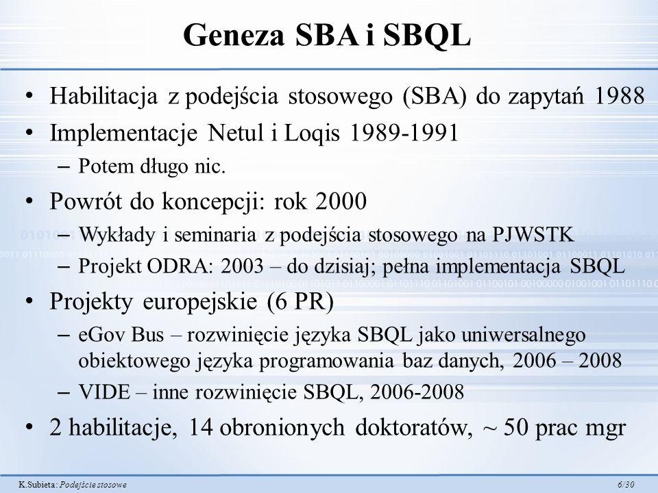 K.Subieta: Podejście stosowe 6/30 Geneza SBA i SBQL Habilitacja z podejścia stosowego (SBA) do zapytań 1988 Implementacje Netul i Loqis 1989-1991 – Po