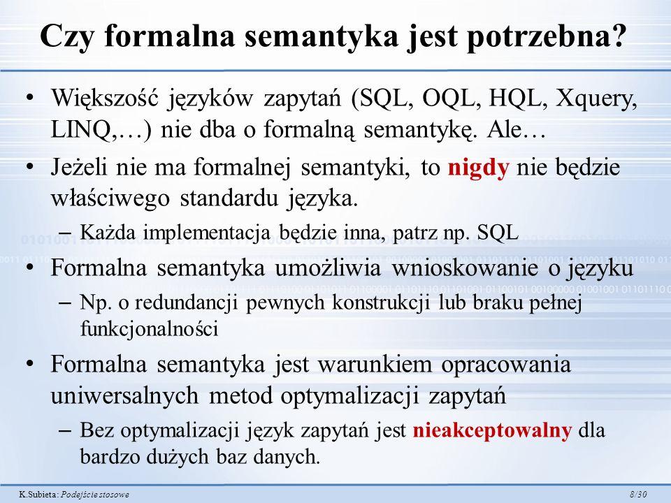 K.Subieta: Podejście stosowe 9/30 Podstawy podejścia stosowego (SBA) Dla potrzeb formalnej semantyki języka zapytań i programów należy zdefiniować: – Dziedzinę syntaktyczną zapytań i programów Q w postaci składni abstrakcyjnej – Zbiór wszystkich stanów Stan (bazy danych, ale nie tylko) – Zbiór wszystkich rezultatów zapytań Rezultat Dla każdego elementu q z dziedziny Q, należy zdefiniować odwzorowanie go w znaczenie (semantykę) Dla zapytań będzie to funkcja |q|: Stan Rezultat.