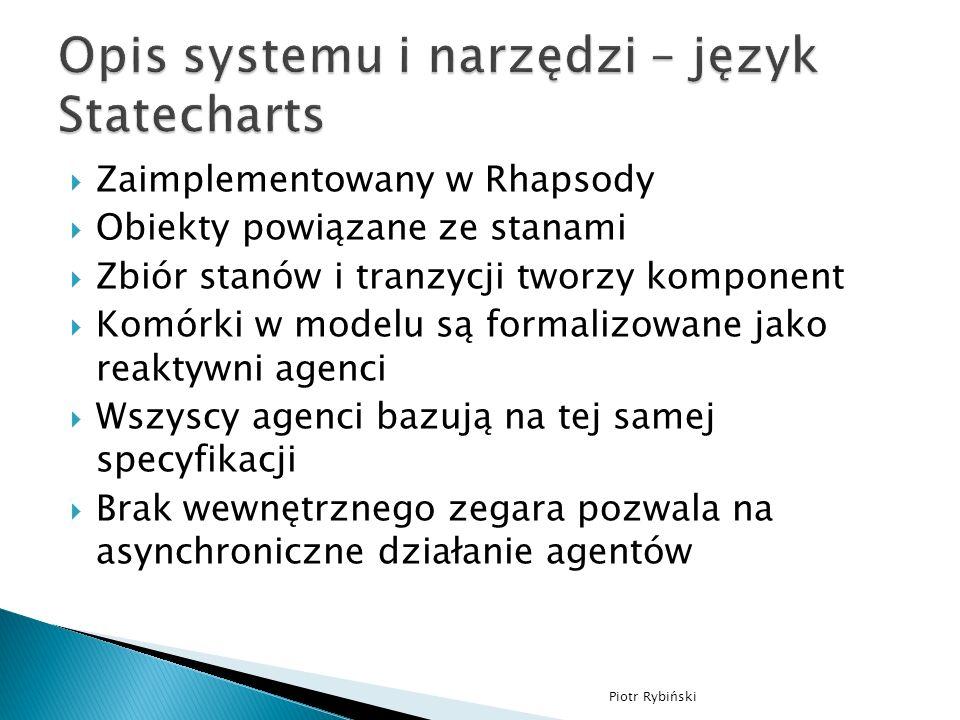 Zaimplementowany w Rhapsody Obiekty powiązane ze stanami Zbiór stanów i tranzycji tworzy komponent Komórki w modelu są formalizowane jako reaktywni agenci Wszyscy agenci bazują na tej samej specyfikacji Brak wewnętrznego zegara pozwala na asynchroniczne działanie agentów Piotr Rybiński