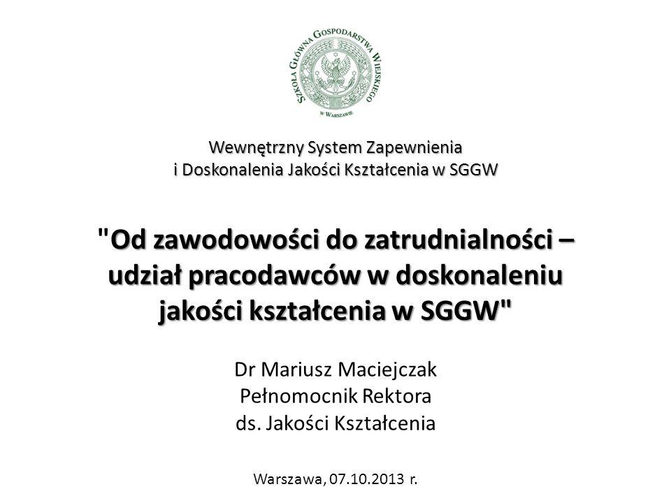 Dr Mariusz Maciejczak Pełnomocnik Rektora ds.Jakości Kształcenia Warszawa, 07.10.2013 r.