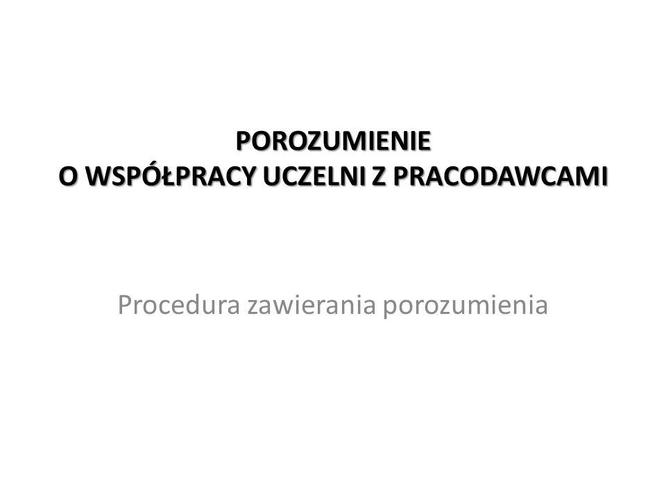 POROZUMIENIE O WSPÓŁPRACY UCZELNI Z PRACODAWCAMI Procedura zawierania porozumienia