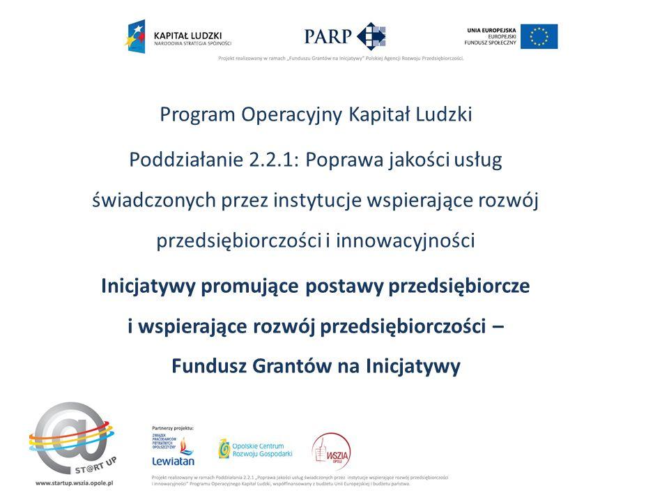 Program Operacyjny Kapitał Ludzki Poddziałanie 2.2.1: Poprawa jakości usług świadczonych przez instytucje wspierające rozwój przedsiębiorczości i innowacyjności Inicjatywy promujące postawy przedsiębiorcze i wspierające rozwój przedsiębiorczości – Fundusz Grantów na Inicjatywy