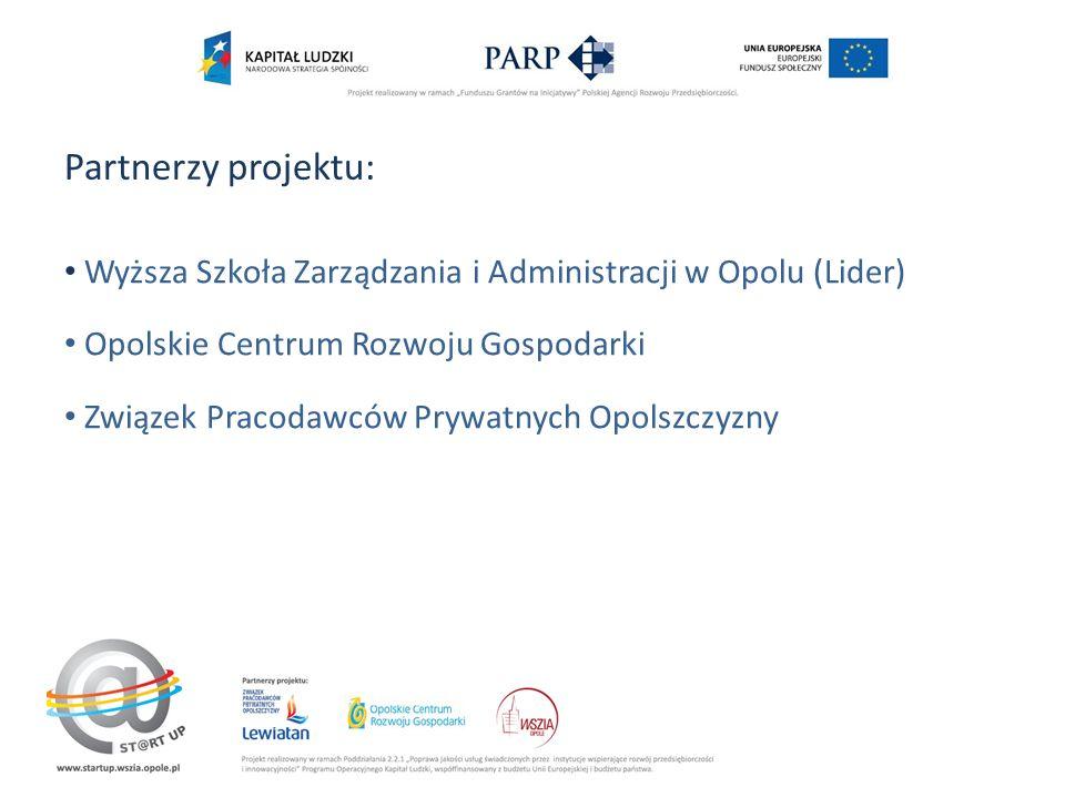 Partnerzy projektu: Wyższa Szkoła Zarządzania i Administracji w Opolu (Lider) Opolskie Centrum Rozwoju Gospodarki Związek Pracodawców Prywatnych Opolszczyzny