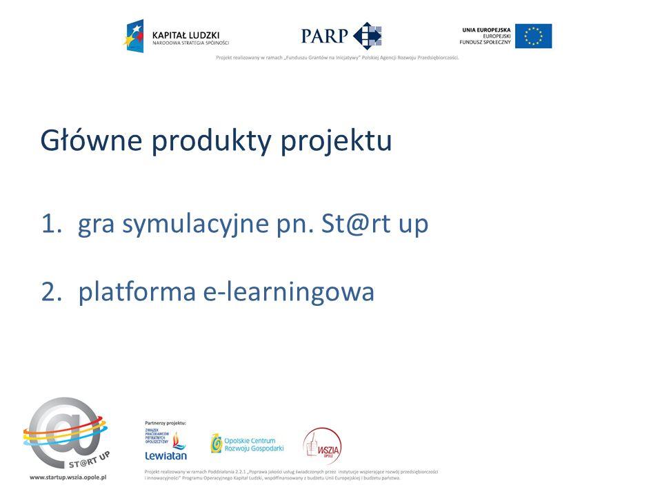 Główne produkty projektu 1.gra symulacyjne pn. St@rt up 2.platforma e-learningowa