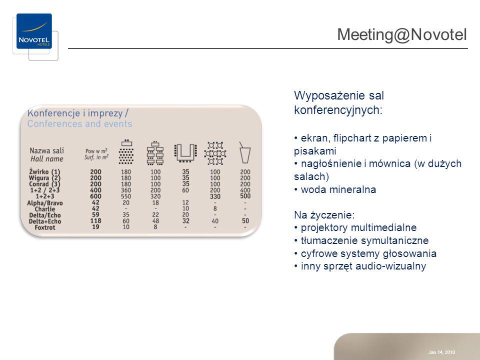 Jan 14, 2010 Meeting@Novotel Wyposażenie sal konferencyjnych: ekran, flipchart z papierem i pisakami nagłośnienie i mównica (w dużych salach) woda min