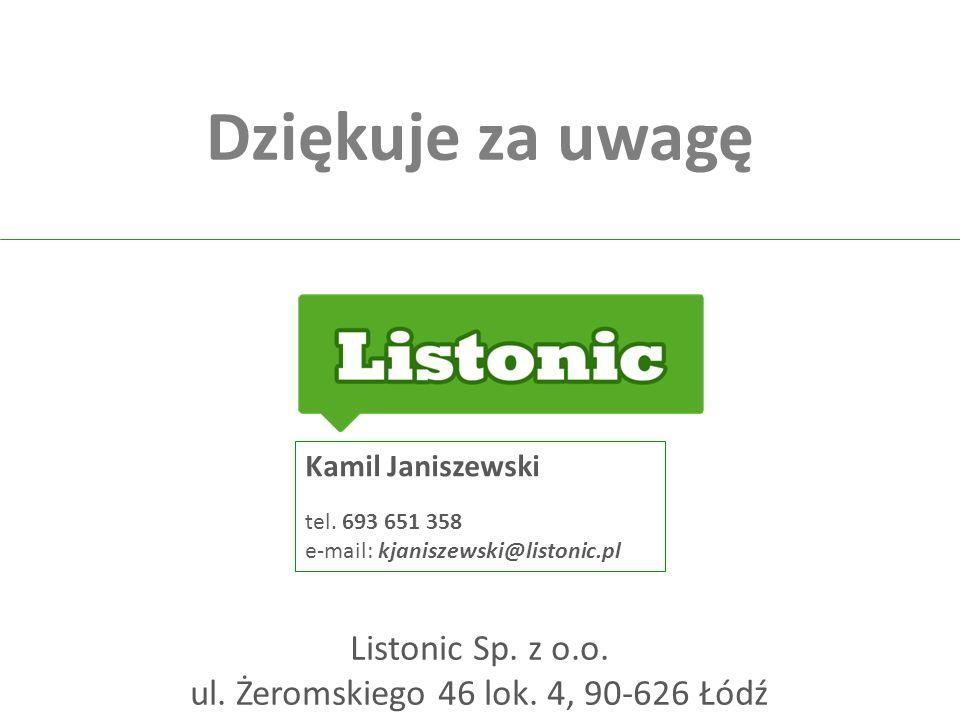 Dziękuje za uwagę Listonic Sp. z o.o. ul. Żeromskiego 46 lok. 4, 90-626 Łódź Kamil Janiszewski tel. 693 651 358 e-mail: kjaniszewski@listonic.pl