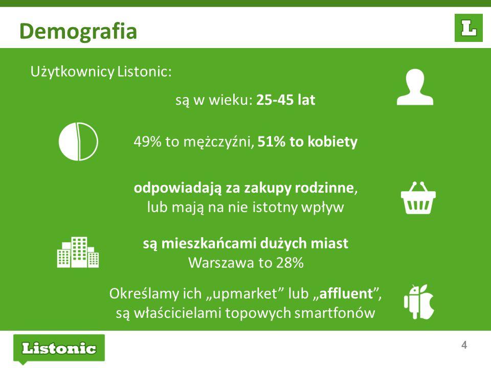 4 Demografia Użytkownicy Listonic: są mieszkańcami dużych miast Warszawa to 28% 49% to mężczyźni, 51% to kobiety Określamy ich upmarket lub affluent,
