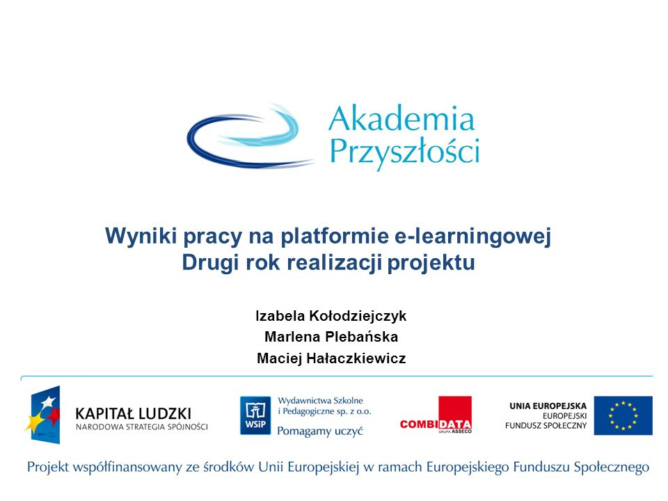 Wyniki pracy na platformie e-learningowej Drugi rok realizacji projektu Izabela Kołodziejczyk Marlena Plebańska Maciej Hałaczkiewicz