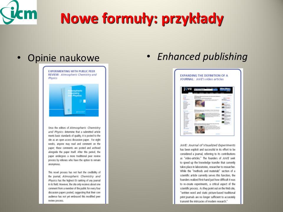 Nowe formuły: przykłady Opinie naukowe Enhanced publishing