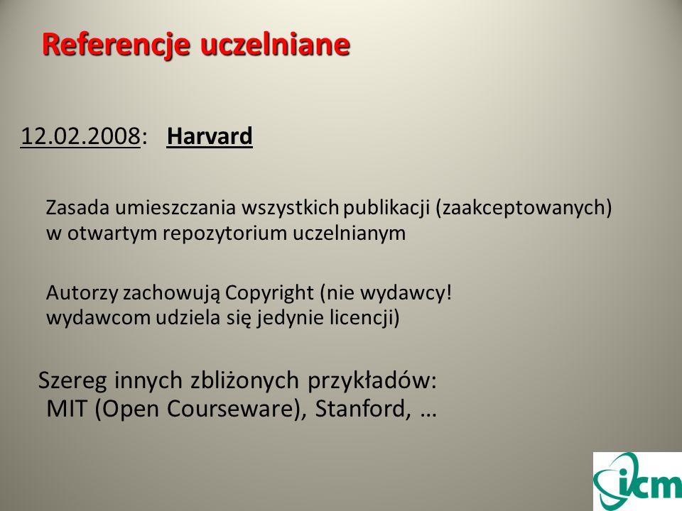Referencje uczelniane 12.02.2008: Harvard Zasada umieszczania wszystkich publikacji (zaakceptowanych) w otwartym repozytorium uczelnianym Autorzy zachowują Copyright (nie wydawcy.