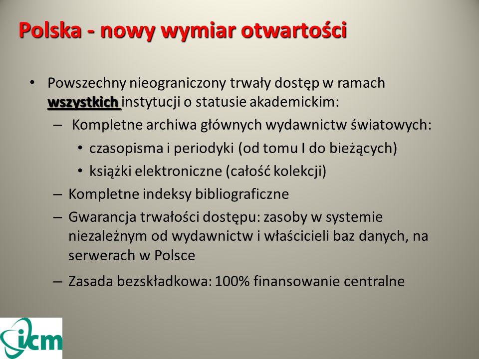 Polska - nowy wymiar otwartości wszystkich Powszechny nieograniczony trwały dostęp w ramach wszystkich instytucji o statusie akademickim: – Kompletne