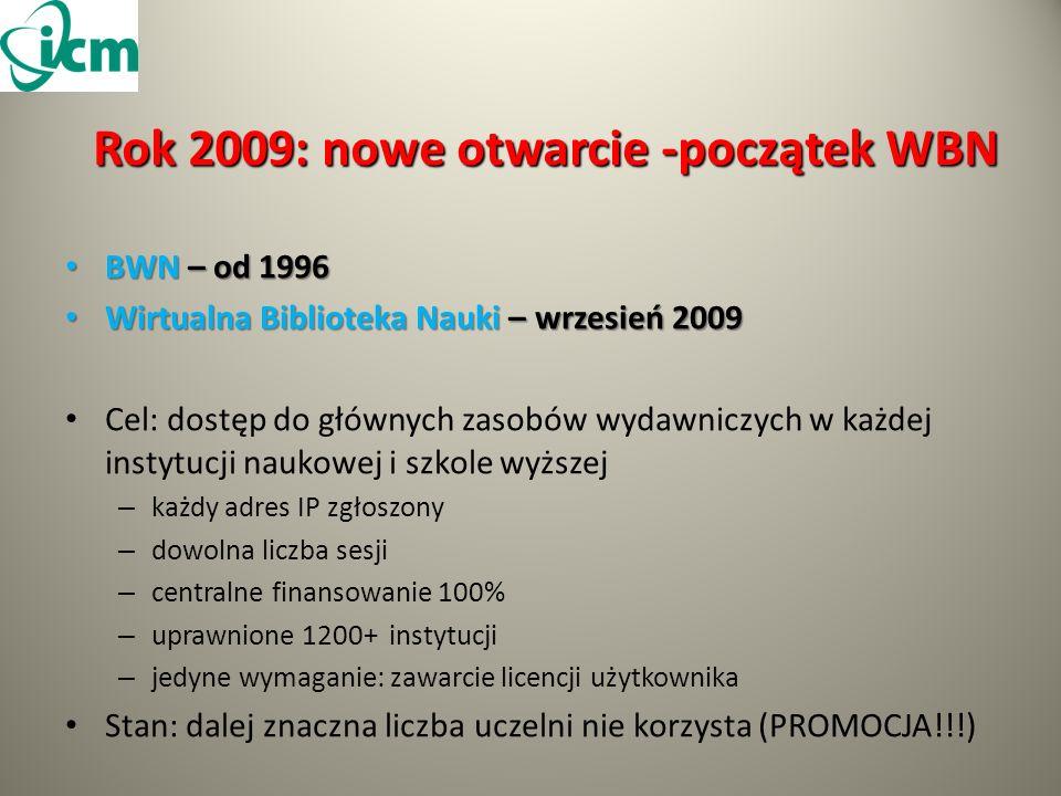 Rok 2009: nowe otwarcie -początek WBN BWN – od 1996 BWN – od 1996 Wirtualna Biblioteka Nauki – wrzesień 2009 Wirtualna Biblioteka Nauki – wrzesień 2009 Cel: dostęp do głównych zasobów wydawniczych w każdej instytucji naukowej i szkole wyższej – każdy adres IP zgłoszony – dowolna liczba sesji – centralne finansowanie 100% – uprawnione 1200+ instytucji – jedyne wymaganie: zawarcie licencji użytkownika Stan: dalej znaczna liczba uczelni nie korzysta (PROMOCJA!!!)