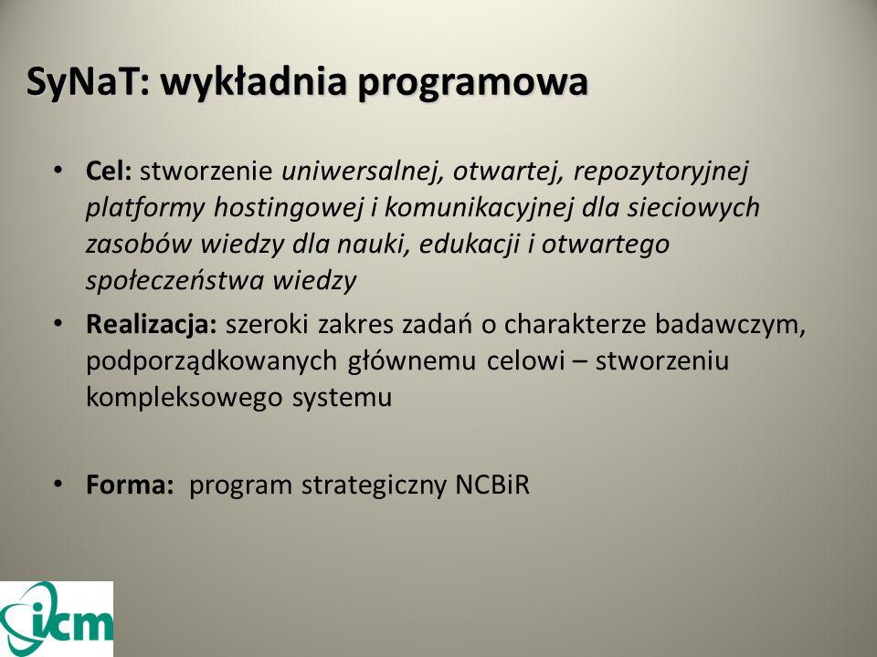 SyNaT: wykładnia programowa Cel: stworzenie uniwersalnej, otwartej, repozytoryjnej platformy hostingowej i komunikacyjnej dla sieciowych zasobów wiedzy dla nauki, edukacji i otwartego społeczeństwa wiedzy Realizacja: szeroki zakres zadań o charakterze badawczym, podporządkowanych głównemu celowi – stworzeniu kompleksowego systemu Forma: program strategiczny NCBiR