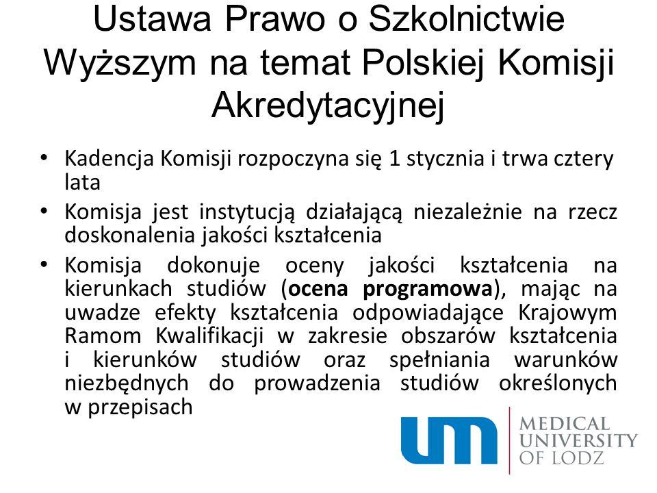 Ustawa Prawo o Szkolnictwie Wyższym na temat Polskiej Komisji Akredytacyjnej Kadencja Komisji rozpoczyna się 1 stycznia i trwa cztery lata Komisja jes