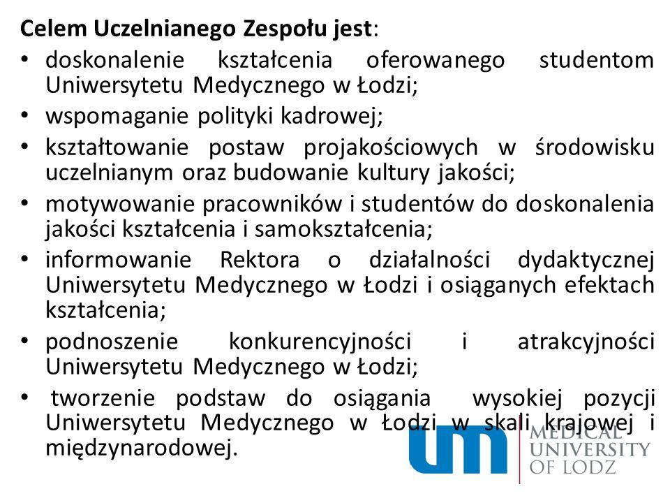 Celem Uczelnianego Zespołu jest: doskonalenie kształcenia oferowanego studentom Uniwersytetu Medycznego w Łodzi; wspomaganie polityki kadrowej; kształ