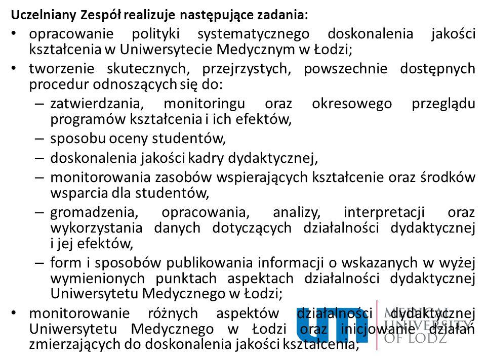Uczelniany Zespół realizuje następujące zadania: opracowanie polityki systematycznego doskonalenia jakości kształcenia w Uniwersytecie Medycznym w Łod
