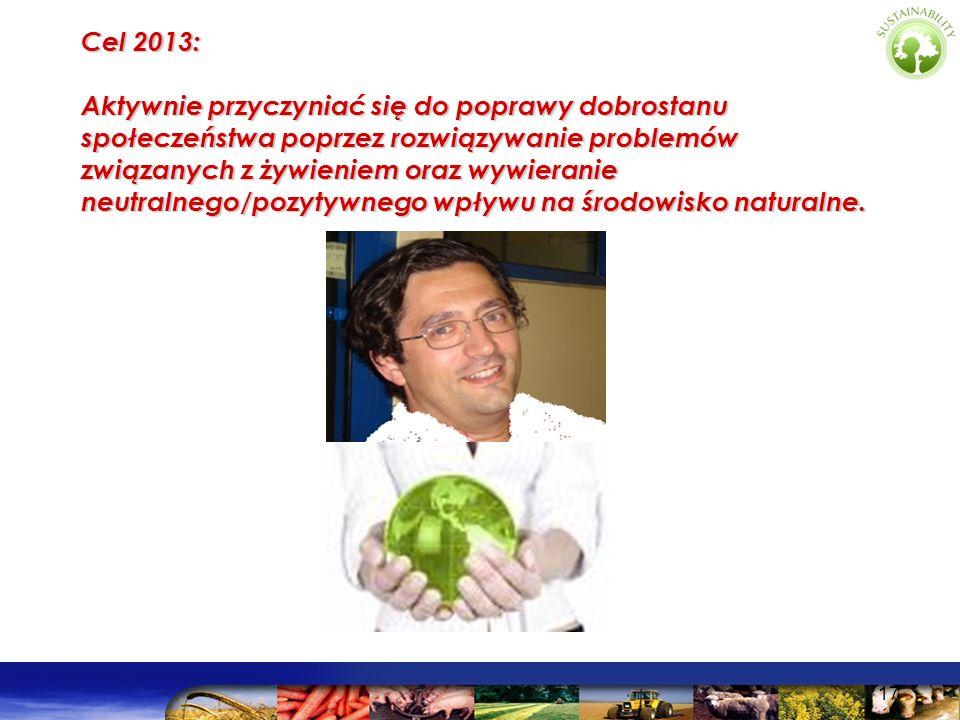 17 Cel 2013: Aktywnie przyczyniać się do poprawy dobrostanu społeczeństwa poprzez rozwiązywanie problemów związanych z żywieniem oraz wywieranie neutr