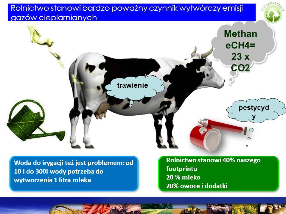Methan eCH4= 23 x CO2 Methan eCH4= 23 x CO2 Rolnictwo stanowi 40% naszego footprintu 20 % mleko 20% owoce i dodatki Woda do irygacji też jest probleme