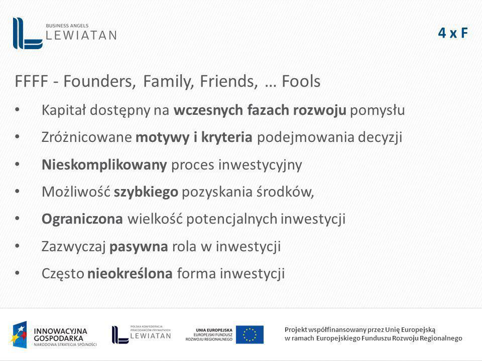 Projekt współfinansowany przez Unię Europejską w ramach Europejskiego Funduszu Rozwoju Regionalnego 4 x F FFFF - Founders, Family, Friends, … Fools Kapitał dostępny na wczesnych fazach rozwoju pomysłu Zróżnicowane motywy i kryteria podejmowania decyzji Nieskomplikowany proces inwestycyjny Możliwość szybkiego pozyskania środków, Ograniczona wielkość potencjalnych inwestycji Zazwyczaj pasywna rola w inwestycji Często nieokreślona forma inwestycji