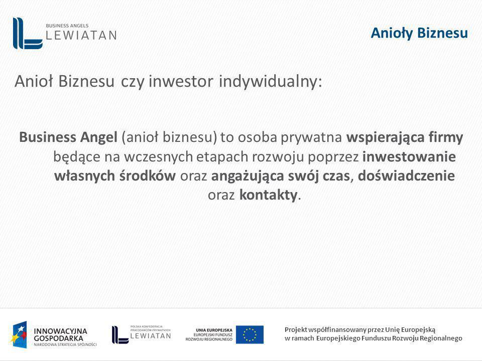 Projekt współfinansowany przez Unię Europejską w ramach Europejskiego Funduszu Rozwoju Regionalnego Anioły Biznesu Anioł Biznesu czy inwestor indywidualny: Business Angel (anioł biznesu) to osoba prywatna wspierająca firmy będące na wczesnych etapach rozwoju poprzez inwestowanie własnych środków oraz angażująca swój czas, doświadczenie oraz kontakty.