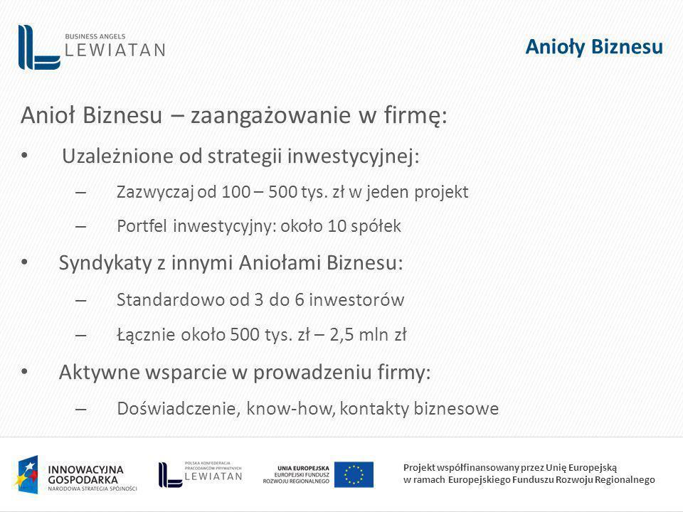 Projekt współfinansowany przez Unię Europejską w ramach Europejskiego Funduszu Rozwoju Regionalnego Anioły Biznesu Anioł Biznesu – zaangażowanie w firmę: Uzależnione od strategii inwestycyjnej: – Zazwyczaj od 100 – 500 tys.