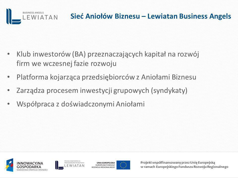 Projekt współfinansowany przez Unię Europejską w ramach Europejskiego Funduszu Rozwoju Regionalnego Klub inwestorów (BA) przeznaczających kapitał na rozwój firm we wczesnej fazie rozwoju Platforma kojarząca przedsiębiorców z Aniołami Biznesu Zarządza procesem inwestycji grupowych (syndykaty) Współpraca z doświadczonymi Aniołami Sieć Aniołów Biznesu – Lewiatan Business Angels
