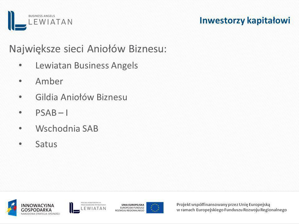 Projekt współfinansowany przez Unię Europejską w ramach Europejskiego Funduszu Rozwoju Regionalnego Inwestorzy kapitałowi Największe sieci Aniołów Biznesu: Lewiatan Business Angels Amber Gildia Aniołów Biznesu PSAB – I Wschodnia SAB Satus