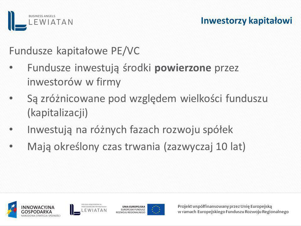 Projekt współfinansowany przez Unię Europejską w ramach Europejskiego Funduszu Rozwoju Regionalnego Inwestorzy kapitałowi Fundusze kapitałowe PE/VC Fundusze inwestują środki powierzone przez inwestorów w firmy Są zróżnicowane pod względem wielkości funduszu (kapitalizacji) Inwestują na różnych fazach rozwoju spółek Mają określony czas trwania (zazwyczaj 10 lat)