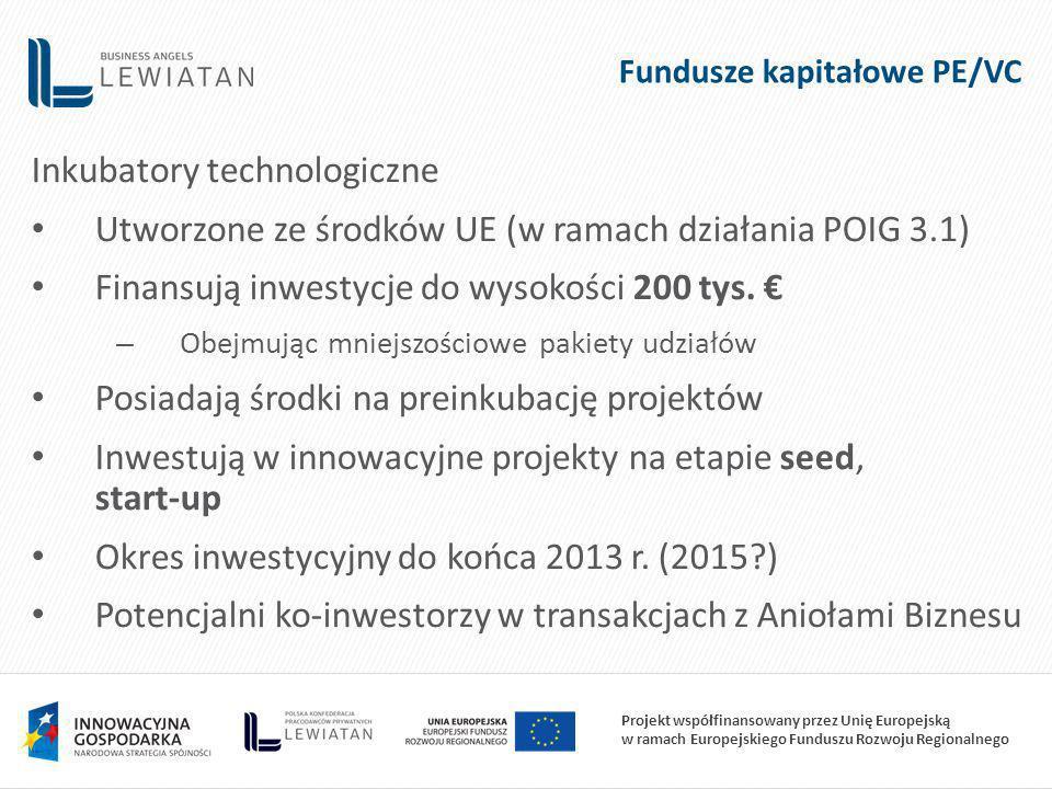 Projekt współfinansowany przez Unię Europejską w ramach Europejskiego Funduszu Rozwoju Regionalnego Fundusze kapitałowe PE/VC Inkubatory technologiczne Utworzone ze środków UE (w ramach działania POIG 3.1) Finansują inwestycje do wysokości 200 tys.