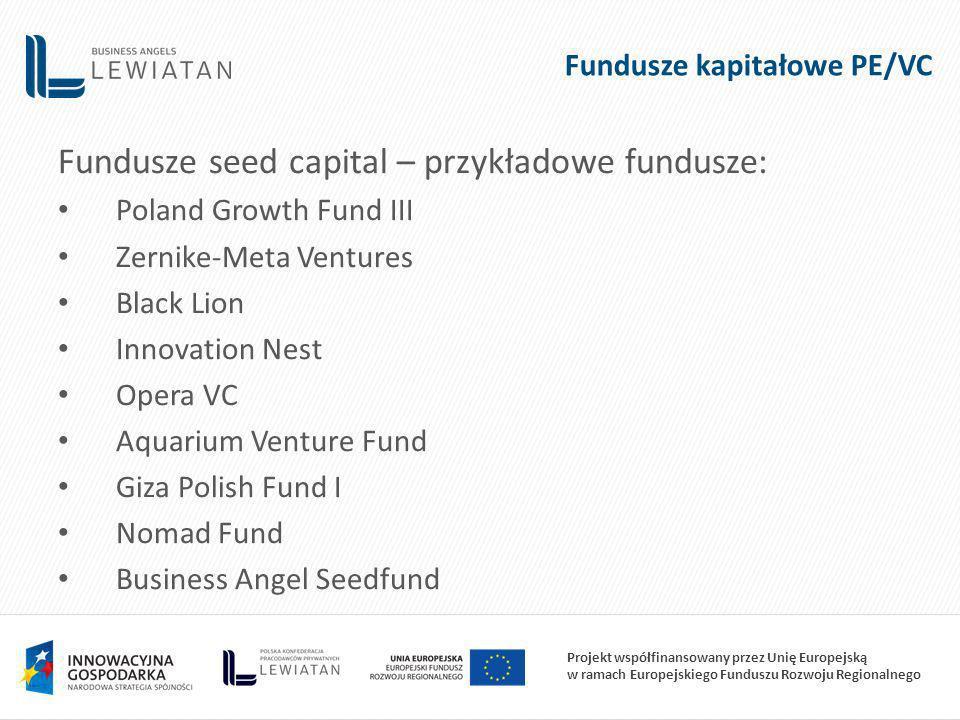 Projekt współfinansowany przez Unię Europejską w ramach Europejskiego Funduszu Rozwoju Regionalnego Fundusze kapitałowe PE/VC Fundusze seed capital – przykładowe fundusze: Poland Growth Fund III Zernike-Meta Ventures Black Lion Innovation Nest Opera VC Aquarium Venture Fund Giza Polish Fund I Nomad Fund Business Angel Seedfund