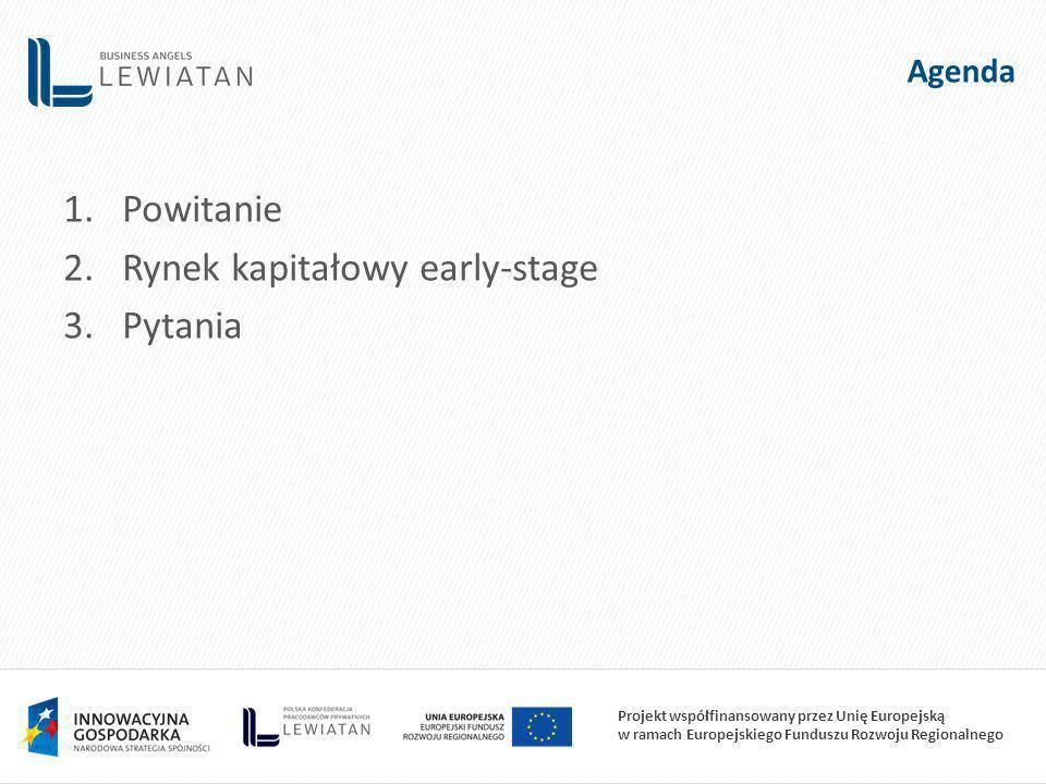 Projekt współfinansowany przez Unię Europejską w ramach Europejskiego Funduszu Rozwoju Regionalnego Agenda 1.Powitanie 2.Rynek kapitałowy early-stage 3.Pytania