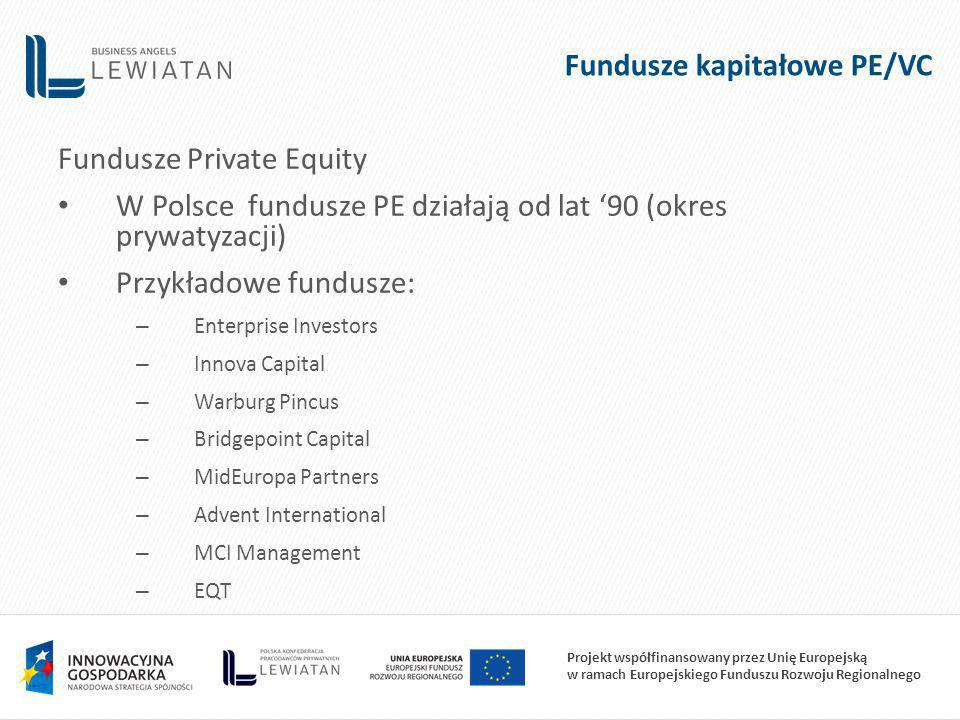 Projekt współfinansowany przez Unię Europejską w ramach Europejskiego Funduszu Rozwoju Regionalnego Fundusze kapitałowe PE/VC Fundusze Private Equity W Polsce fundusze PE działają od lat 90 (okres prywatyzacji) Przykładowe fundusze: – Enterprise Investors – Innova Capital – Warburg Pincus – Bridgepoint Capital – MidEuropa Partners – Advent International – MCI Management – EQT