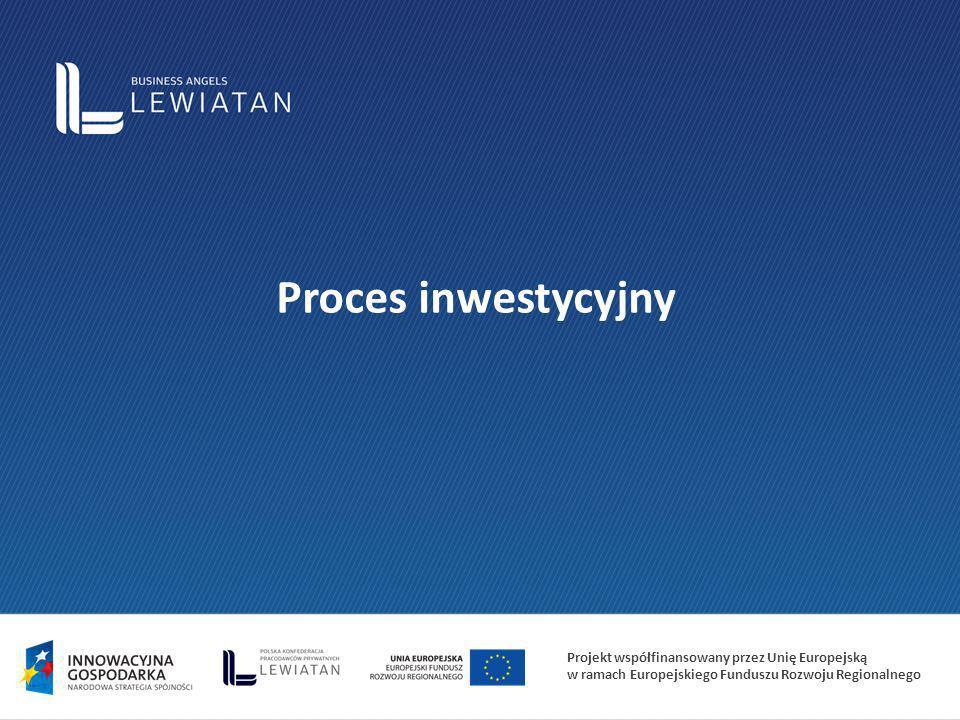 Projekt współfinansowany przez Unię Europejską w ramach Europejskiego Funduszu Rozwoju Regionalnego Proces inwestycyjny