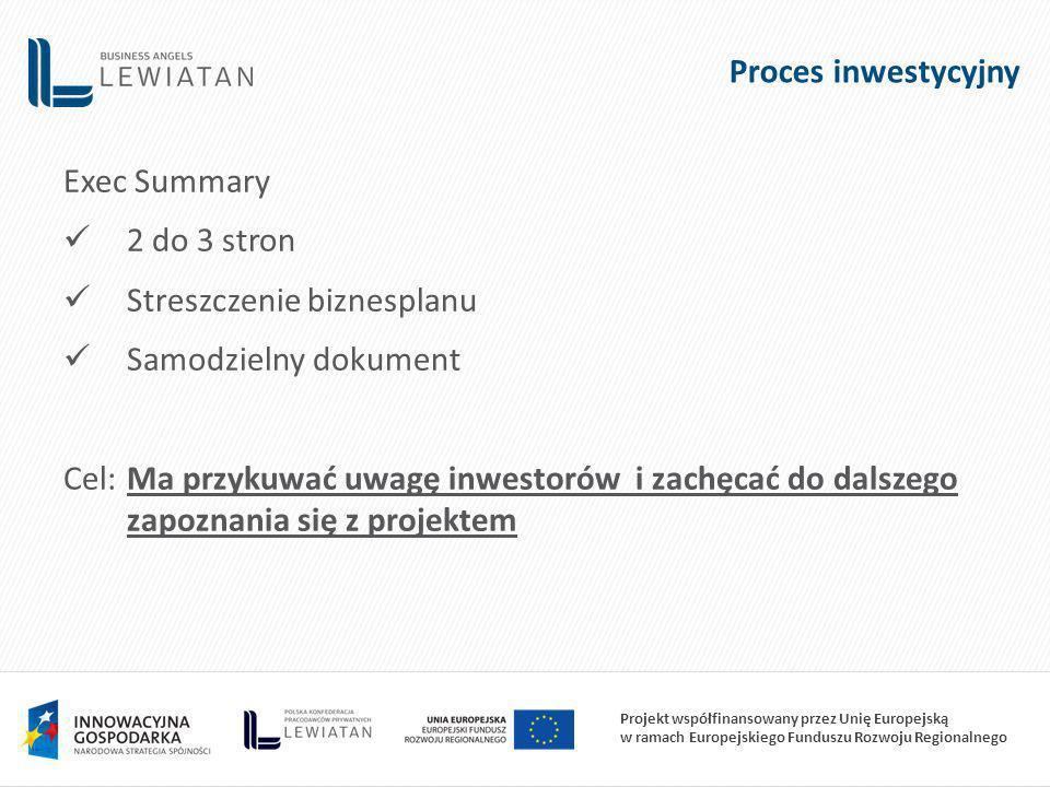 Projekt współfinansowany przez Unię Europejską w ramach Europejskiego Funduszu Rozwoju Regionalnego Proces inwestycyjny Exec Summary 2 do 3 stron Streszczenie biznesplanu Samodzielny dokument Cel:Ma przykuwać uwagę inwestorów i zachęcać do dalszego zapoznania się z projektem