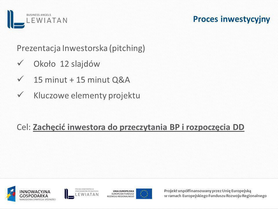 Projekt współfinansowany przez Unię Europejską w ramach Europejskiego Funduszu Rozwoju Regionalnego Proces inwestycyjny Prezentacja Inwestorska (pitching) Około 12 slajdów 15 minut + 15 minut Q&A Kluczowe elementy projektu Cel: Zachęcić inwestora do przeczytania BP i rozpoczęcia DD