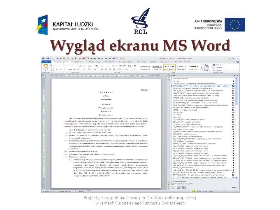Wygląd ekranu MS Word