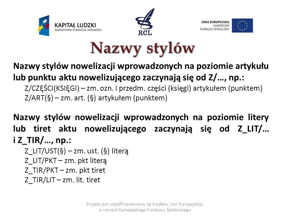 Nazwy stylów Nazwy stylów nowelizacji wprowadzonych na poziomie artykułu lub punktu aktu nowelizującego zaczynają się od Z/…, np.: Z/CZĘŚCI(KSIĘGI) – zm.