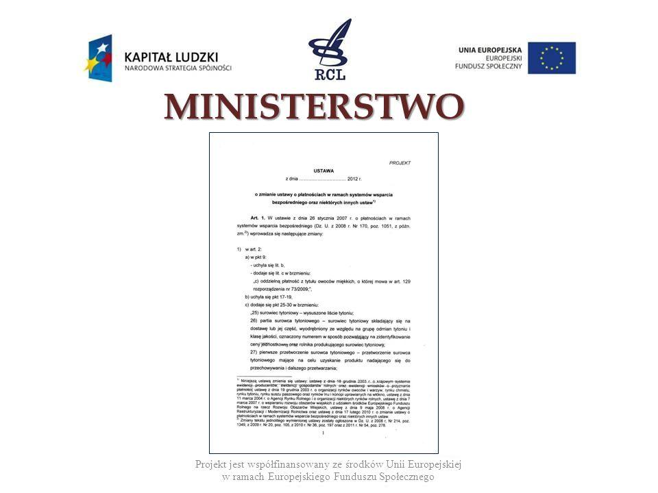 Projekt jest współfinansowany ze środków Unii Europejskiej w ramach Europejskiego Funduszu Społecznego MINISTERSTWO