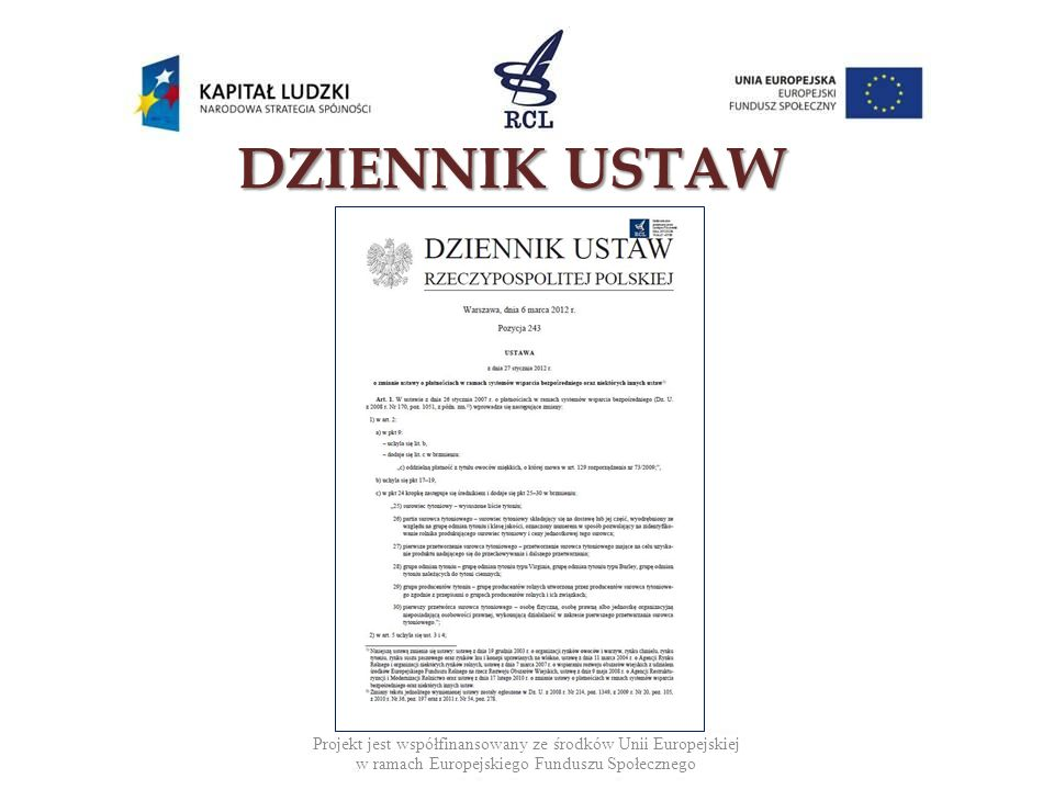 Projekt jest współfinansowany ze środków Unii Europejskiej w ramach Europejskiego Funduszu Społecznego DZIENNIKUSTAW DZIENNIK USTAW