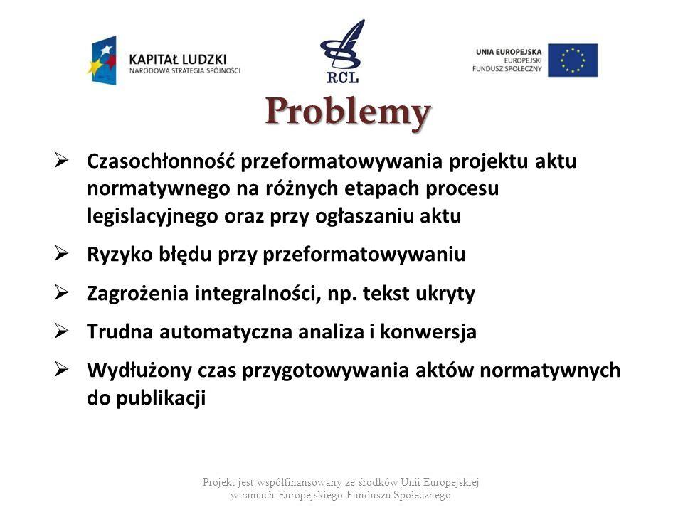 Projekt jest współfinansowany ze środków Unii Europejskiej w ramach Europejskiego Funduszu Społecznego Problemy Czasochłonność przeformatowywania projektu aktu normatywnego na różnych etapach procesu legislacyjnego oraz przy ogłaszaniu aktu Ryzyko błędu przy przeformatowywaniu Zagrożenia integralności, np.