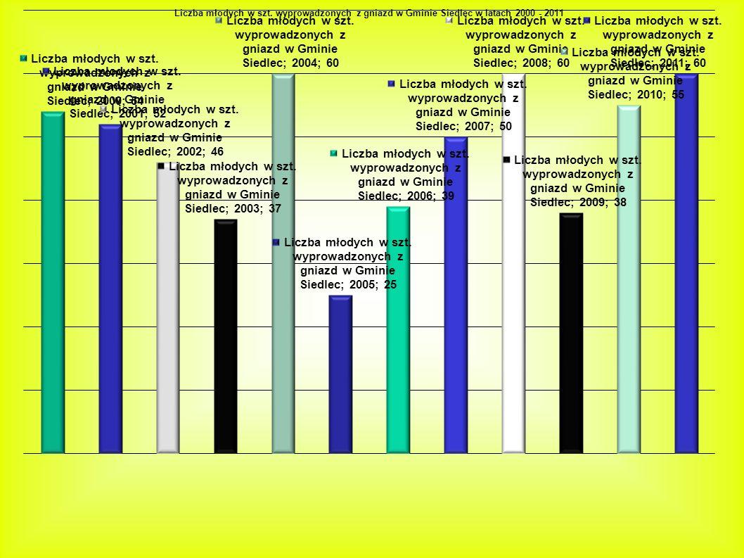 Przyczyny najmniejszego sukcesu lęgowego w latach: 2003r Bociany bardzo późno przyleciały i długo dobierał się w pary, a później nastąpiło załamanie (jeden tydzień zimowy) Wiosną i latem wystąpiła susza 2005r 6 par nie przystąpiło do lęgów mimo, iż przyleciały w terminie; Zginęły 2 dorosłe bociany walki o gniazda, zniszczone jaja, zginęły młode 2009r Przebieg pogody wiosną i latem był normalny, mimo to bociany osiągnęły mały sukces lęgowy