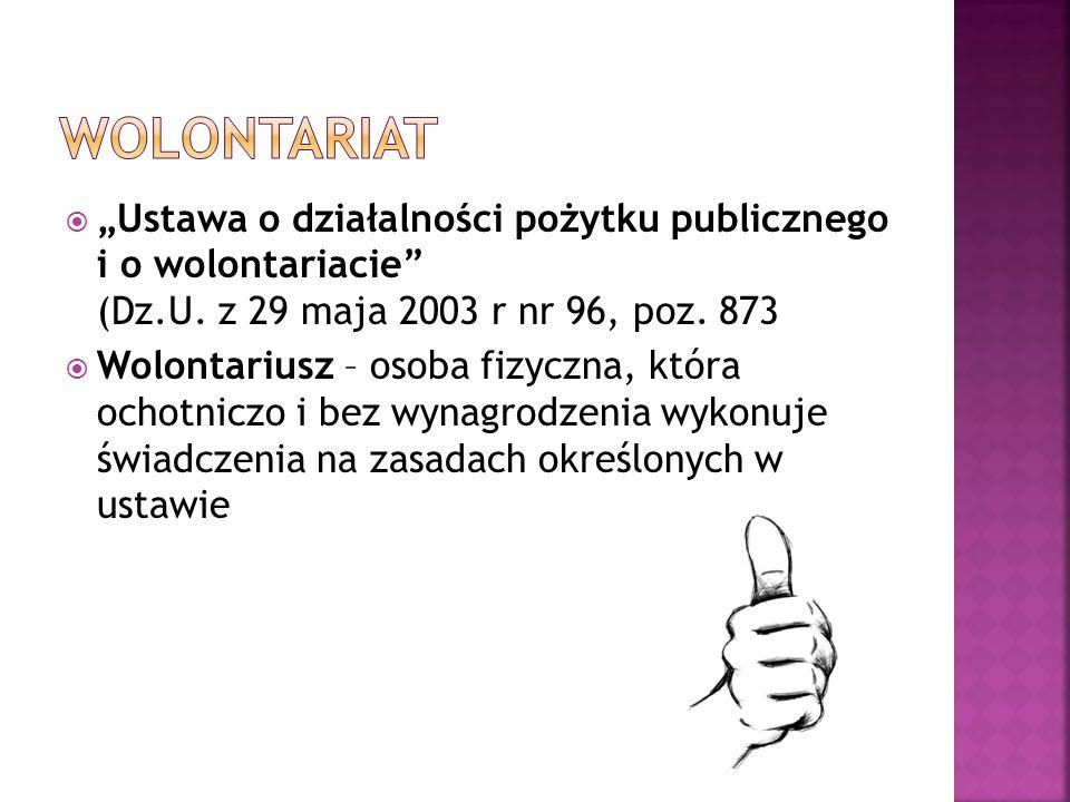 Ustawa o działalności pożytku publicznego i o wolontariacie (Dz.U. z 29 maja 2003 r nr 96, poz. 873 Wolontariusz – osoba fizyczna, która ochotniczo i