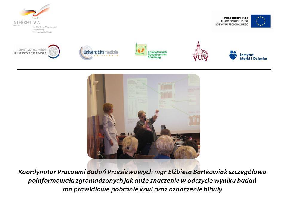Koordynator Pracowni Badań Przesiewowych mgr Elżbieta Bartkowiak szczegółowo poinformowała zgromadzonych jak duże znaczenie w odczycie wyniku badań ma