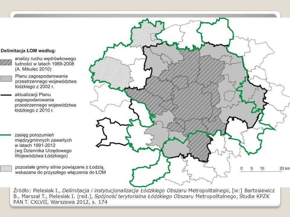 Źródło: Pielesiak I., Delimitacja i instytucjonalizacja Łódzkiego Obszaru Metropolitalnego, [w:] Bartosiewicz B., Marszał T., Pielesiak I. (red.), Spó
