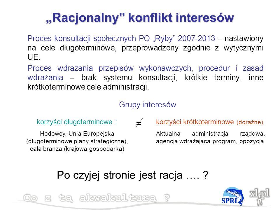 Racjonalny konflikt interesów Proces konsultacji społecznych PO Ryby 2007-2013 – nastawiony na cele długoterminowe, przeprowadzony zgodnie z wytycznymi UE.