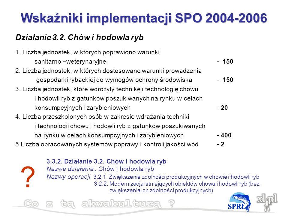 Wskaźniki implementacji SPO 2004-2006 Działanie 3.2.