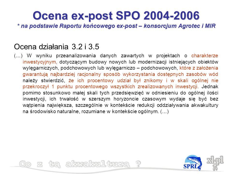 Ocena ex-post SPO 2004-2006 * na podstawie Raportu końcowego ex-post – konsorcjum Agrotec i MIR Ocena działania 3.2 i 3.5 (…) W wyniku przeanalizowania danych zawartych w projektach o charakterze inwestycyjnym, dotyczącym budowy nowych lub modernizacji istniejących obiektów wylęgarniczych, podchowowych lub wylęgarniczo – podchowowych, które z założenia gwarantują najbardziej racjonalny sposób wykorzystania dostępnych zasobów wód należy stwierdzić, że ich procentowy udział był znikomy i w skali ogólnej nie przekroczył 1 punktu procentowego wszystkich zrealizowanych inwestycji.